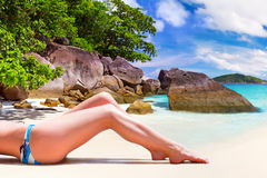 Woman in bikini on summer holidays Stock Images