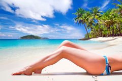 Woman in bikini on summer holidays Royalty Free Stock Photos