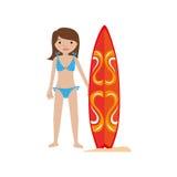 Woman in bikini with surf board Stock Image