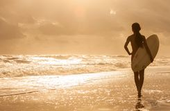 Woman Bikini Surfer & Surfboard Sunset Beach Royalty Free Stock Photos