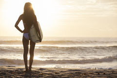 Woman Bikini Surfer & Surfboard Sunset Beach. Rear view of beautiful young woman surfer girl in bikini with white surfboard on a beach at sunset or sunrise royalty free stock images