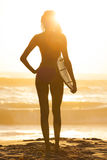 Woman Bikini Surfer & Surfboard Sunset Beach Royalty Free Stock Images