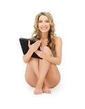 Woman in bikini with tablet pc computer Stock Image