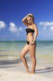 Woman in bikini taking a sunbath Stock Images