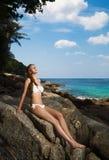 Woman in bikini on the tropical beach. Beautiful woman in bikini on the tropical beach Stock Photography