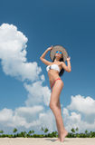 Woman in bikini on the tropical beach Royalty Free Stock Image