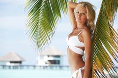 Woman in bikini under palm Stock Image