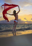 Woman in a bikini walking on the beach Royalty Free Stock Photography
