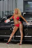 Woman in lingerie washing car Royalty Free Stock Photography