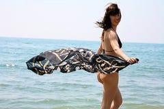 Woman in bikini in the water Royalty Free Stock Photos