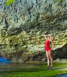 Woman in Bikini. Young Woman in Bikini in Tropical Island Royalty Free Stock Photos