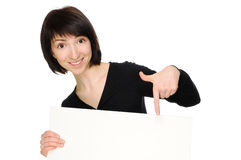 Woman with billboard Stock Photos