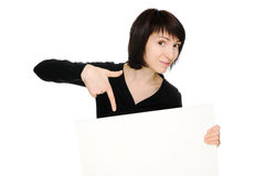 Woman with billboard Stock Images