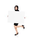 Woman and billboard Royalty Free Stock Photography