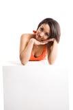 Woman and billboard Stock Photo