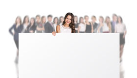 Woman with Billboard Royalty Free Stock Photography