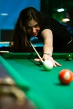 Woman in billiard Stock Photos