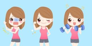 Woman with bingo wings. Cute cartoon sport woman with bingo wings problem royalty free illustration
