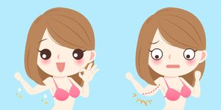 Woman with bingo wings. On the blue background vector illustration