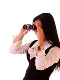 Woman with binocular Stock Images