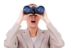 A woman with binocular Royalty Free Stock Photos