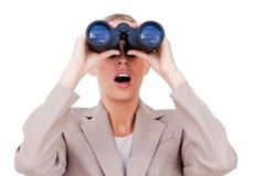A woman with binocular Royalty Free Stock Photos
