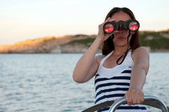 Woman with binocular Stock Photos