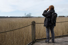 Woman with binocular 2. Woman studying birds with binocular, at lake Krankesjon, in Southern Sweden stock photo