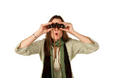 Woman with binoculars Royalty Free Stock Photos