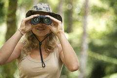 Woman with Binoculars royalty free stock images