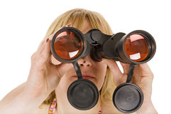 Woman with binoculars Stock Photos