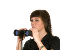 Woman with binoculars Stock Image