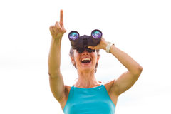 Woman binoculars Royalty Free Stock Photos