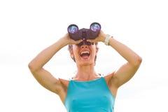 Woman binoculars Royalty Free Stock Images