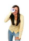 Woman with binoculars looking for the future Royalty Free Stock Photos