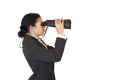 Woman with binoculars searching for business. In the future. Isolated on white background royalty free stock image