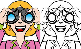 Woman With Binoculars Set Royalty Free Stock Images