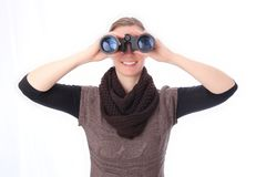 Woman with binoculars sight frontal Royalty Free Stock Photography