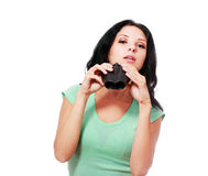 Woman with binoculars Royalty Free Stock Photo