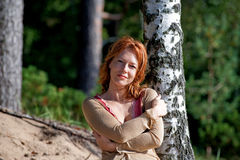 Woman at the birch Royalty Free Stock Images