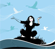 Woman and birds. Woman on grunge background with Birds. Elements for your design Stock Illustration