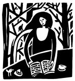 Woman&birds. The unrecognizable pretty woman is reading the book. The trees are on the background Stock Photo
