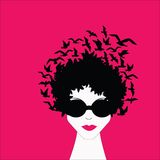 Woman with Birds in Hair. And sunglasses Royalty Free Stock Images