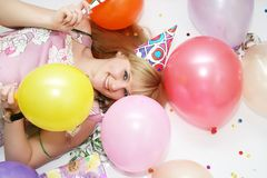 woman in birthday cap Stock Images