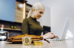 Woman bitcoin trading royalty free stock photos