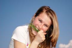 Woman bite Stock Photo