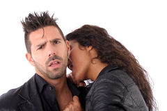 Woman bite on man Stock Photo