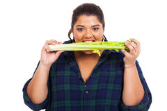 woman biting celery Stock Images