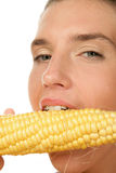 Woman biting corn Royalty Free Stock Photo