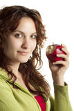 Woman with Bitten Red Apple Royalty Free Stock Photos